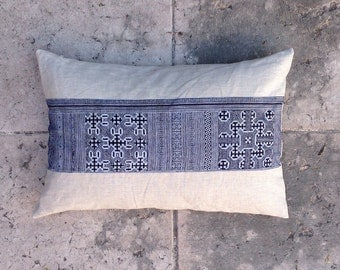"Blue Hmong Traditional Fabric, Natural linen Pillow Cover - 23"" x 16"" inch"