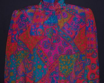 Vintage Malia Patchwork Bright Jewel Tones Paisley Floral Flower Print Blouse Skirt 12 14 Shirt 2 Piece Rare