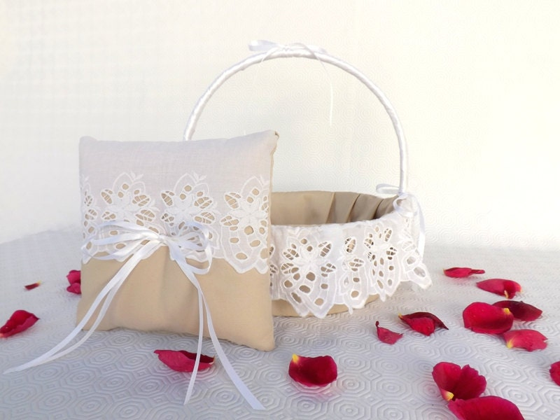 Set Of Wedding Ring Pillow And Flower Girl Basket Natural