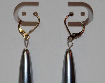E14 Long silver drop earrings with leverback ear wires