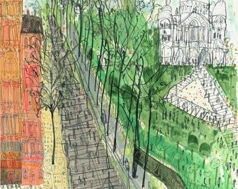 Sacre Coeur Paris Steps Montmartre Painting, Limited Edition French Art Print, Watercolour Painting, Parisian Wall Decor, Clare Caulfield
