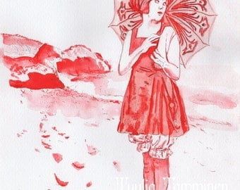 Lila Lee With Umbrella, red painting - art reproduction print of an original watercolour & ink painting  by Tuulia Tamminen - Size A3