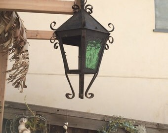 Lantern Spanish Revival Metal Green Glass Panel Vintage Outdoor Lighting Fixtures Architectural Salvage Lamps