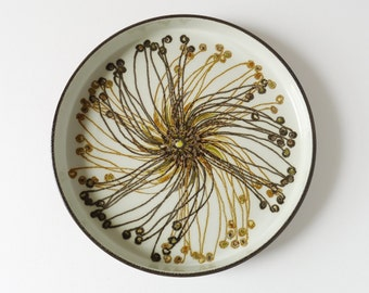1970s Danish Royal Copenhagen Baca Ceramic Dish / Charger. Design Ellen Malmer, Aluminia Faience, Autumnal Colours