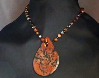 Red Horsehair raku teardrop pendant with gemstone necklace/bracelet