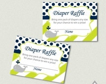 Whale Baby Shower Diaper Raffle Cards, Whale Diaper Raffle, Baby Shower Diaper Raffle, Green Whale Shower, Printable PDF, Baby Shower Game