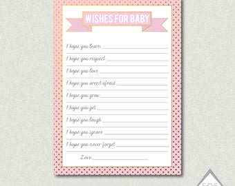 Wishes for Baby Girl Cards, Wishes for Baby Printable, Blush Pink and Gold Baby Shower, Baby Wishes Printable, Printable Baby Shower Games