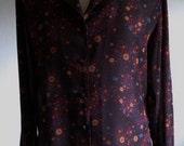 Vintage 1970s Cosmic Galaxy Print Black Blouse Womens Size Medium 10/12