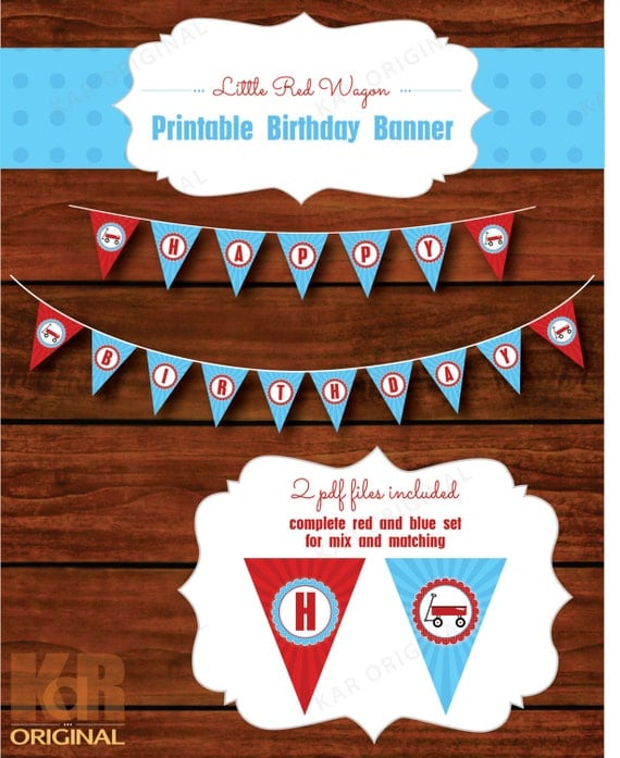 Little Red Wagon Happy Birthday Printable Banner // Little Red