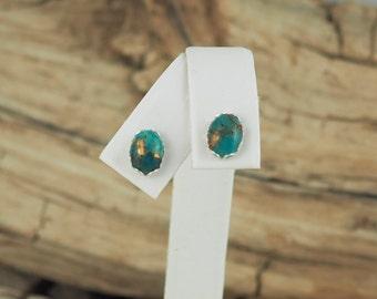Sterling Silver Post Earrings - Blue Copper Turquoise Earrings -  6mm x 8mm Blue Copper Turquoise Cabochons on Sterling Silver Post