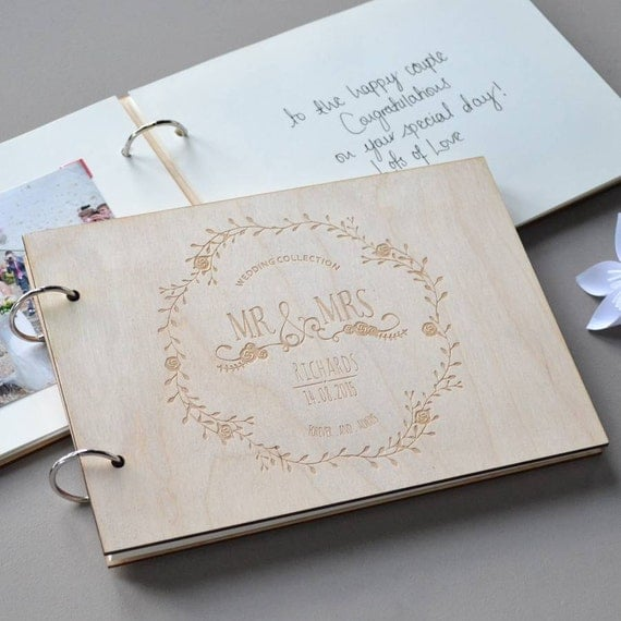 Personalised Wedding Gift Ideas Ireland : ... Bridal - Engraved Guest Book - Gift for Couples - Wedding Gift