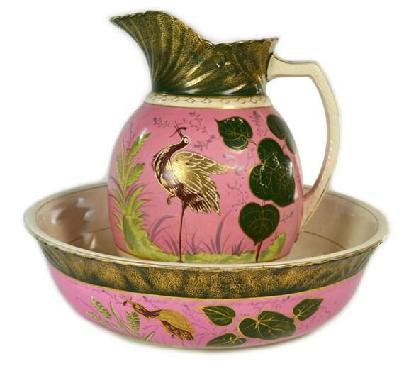 Pink Crane Flower Water Jug And Basin Antique English Circa