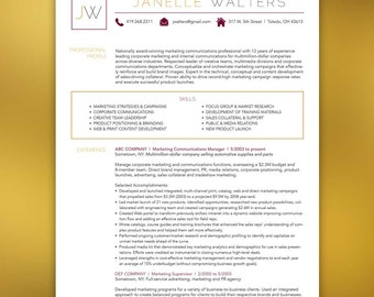 Marketing Resume Package - Marketing/Marketer or any profession- Microsoft Office and Adobe Indesign