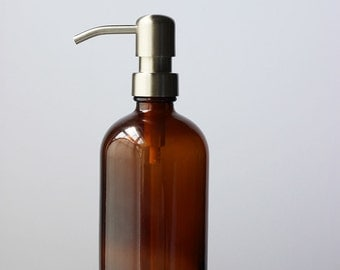 Farmhouse Amber Glass Soap Dispenser - Stainless