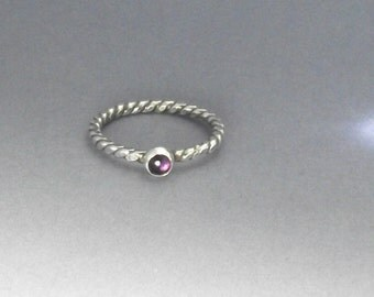 Amethyst Stacking Ring, silver stacking ring, purple amethyst amethyst ring, twist band ring, handmade amethyst ring