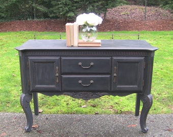 SOLD****************************Gorgeous French Provincial Vintage Buffet Sideboard in Soft Black/Charcoal-Vintage Furniture