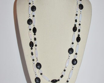 Joan Rivers Beaded Necklace - Black and White 60 Inches                      - S1094