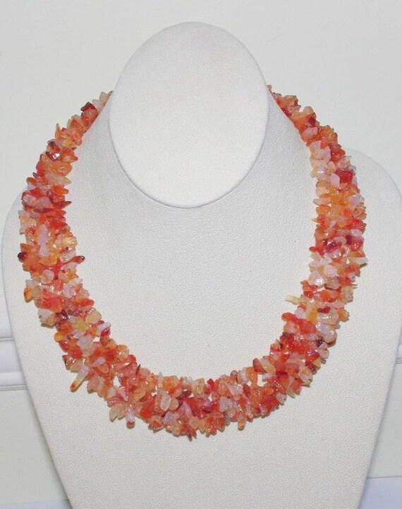 handmade orange quartz gemstone necklace s438