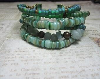 Six Stranded Turquoise Shell and Stone Boho Bracelet