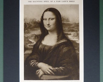 1930s Vintage Sepia Print of the Mona Lisa by Leonardo Di Vinci Italian Renaissance art, the most famous smile in the world, Mysterious Gift