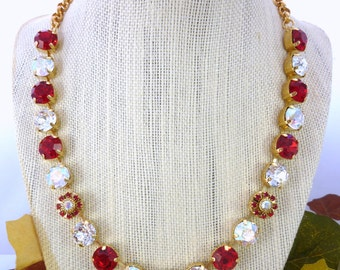 Swarovski Crystal and 47ss (11mm) Chaton Necklace, Red, Clear, Crystal AB, Gold Tone Chain, Chunky Choker, Elegant, Flower Embellished