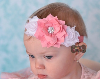 BOUTIQUE STYLE-Shabby Chic-Baby Girl-Elastic Headbands-Infant Headband Sets-Spring Headbands-Baby Bands-Stretch Headbands