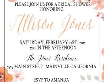 Floral Bridal shower invitation (digital file)