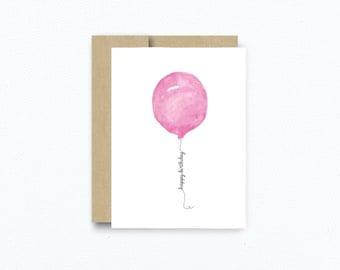 Birthday Card Watercolor Card Pink Balloon Greeting Card Card for Birthday Blank Birthday card Watercolor Illustration Greeting Card WCP168
