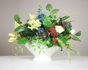 Lg Silk Floral Arrangement, Faux Flower Arrangement, Orchid, Peony, Centerpiece, Spring Flowers, Table Decor, Blue, White, Hydrangea,