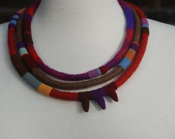 Felted and crochet necklace