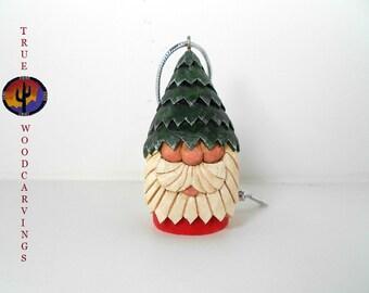 Hand Carved Wood Santa Christmas Tree Ornament
