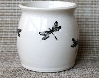 White Porcelain Bowl - Wheel Thrown and Hand Stamped