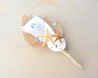 Beach Boutonniere, Beach Wedding, Starfish Boutonniere