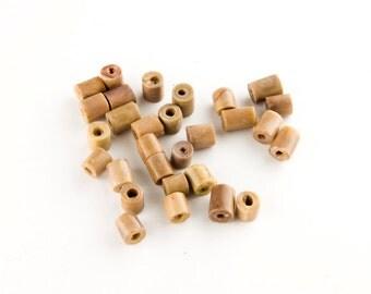 Tan Bamboo Coral Tube Beads 5x5mm