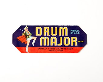 Vintage 1930s Drum Major Crate Label