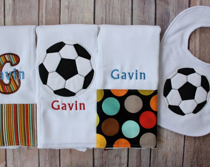 Soccer Burp Cloth and Bib Set for Baby Boy - Personalized Soccer Burp Cloth Set - Soccer Bib - Monogram Soccer Baby Gift for Baby Boy