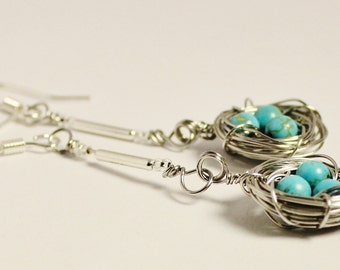 Birds nest earrings in turquoise blue magnesite, steel blue handmade bird nest jewelry, stainless steel nest earrings