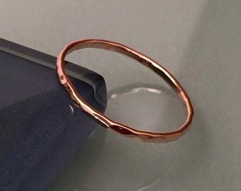Solid Gold Stacking Rings, 14k Rose Gold Band Rings, Hammered Wedding Band