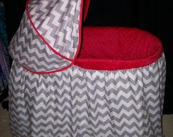 Custom Chevron and Minky Bassinet Covers