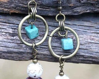 Vibrant Earrings with Turquoise, Porcelain, and Jasper Beadwork