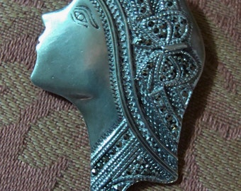 Vtg Large Sterling FLAPPER Brooch / Pin w/ Marcasite Detailing