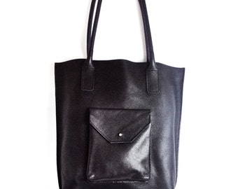Leather TOTE BAG - Black Leather - Super soft genuine leather