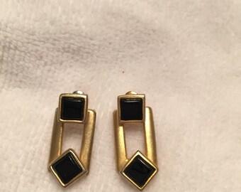 80s Vintage Goldtone and Black Earrings