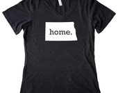 V Neck North Dakota Home State T-Shirt Women's Triblend Tee - Sizes S-XXL