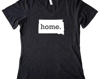 V Neck South Dakota Home State T-Shirt Women's Triblend Tee - Sizes S-XXL