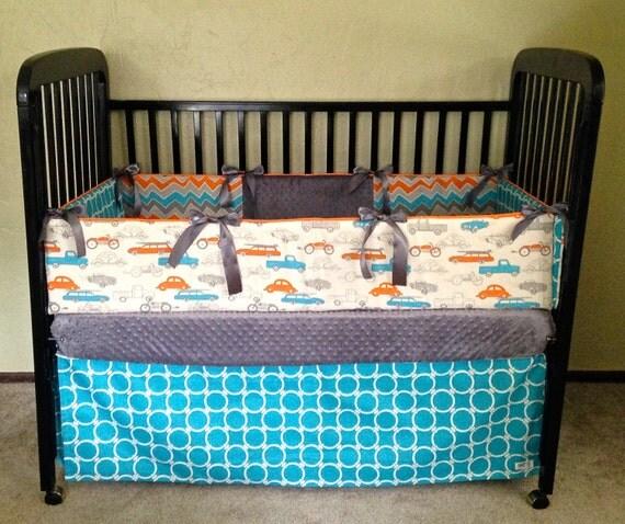 Items Similar To Baby Boy Crib Bedding-Vintage Cars, Aqua