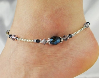 Anklet, Ankle Bracelet Beaded Anklet Metallic Crystal Denim Blue Antique Gold, Beach Vacation Resort Cruise, Gift for Her Blue Anklet