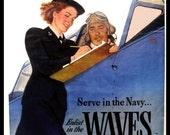 Art Print US Navy, WAVES,  Recruiting Advert Print, 1940s, WWII 8 x 10