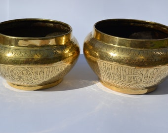 Mamluk Revival Brass Bowls, pair of, made during 20th century, Egyptian vintage bowls