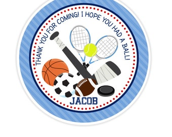 Sports Birthday Stickers, Favor Tags, Happy Birthday Stickers, Gift Tag, Favor Tag, Printable Favor Tags :No.356